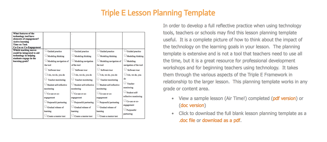 Triple E Lesson Planning Template Triple E Framework - Blank lesson plan template pdf